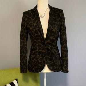 H&M Army Green Leopard Print Tailored Blazer